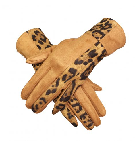 A photo of the Lady Leopard Gloves In Brown product