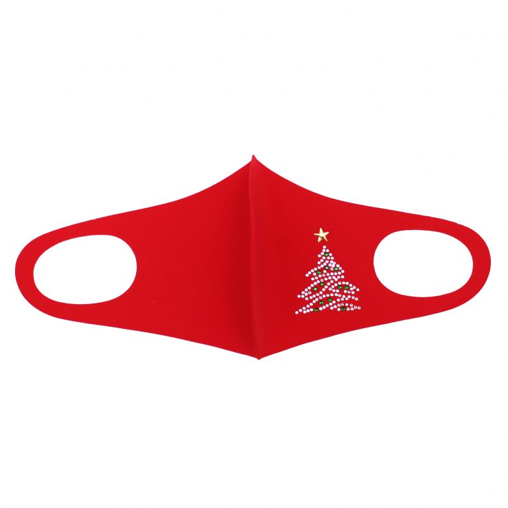 A photo of the Rhinestone Christmas Tree Face Mask In Red product