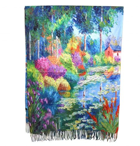 A photo of the Secret Garden Painting Reversible Scarf product
