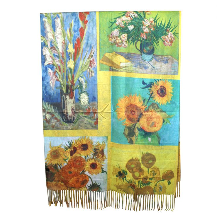 A photo of the Sun Flowers by Van Gogh Painting Reversible Scarf product