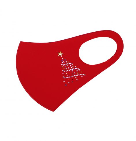 A photo of the Christmas Tree Bling Face Mask In Red product