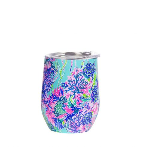 A photo of the Lilly Pulitzer Stainless Steel Wine Glass In Beach You To It product