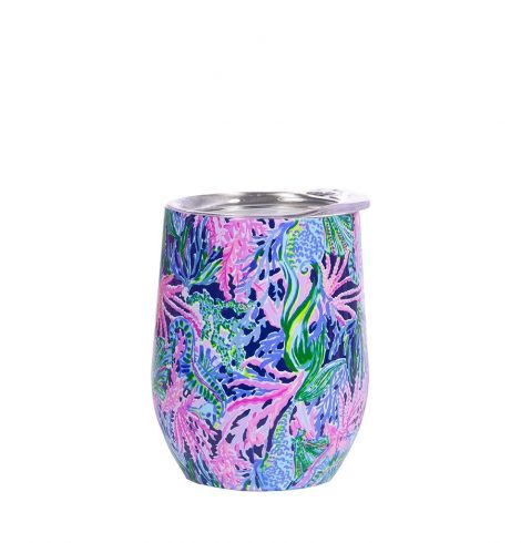 A photo of the Lilly Pulitzer Stainless Steel Wine Glass In Bringing Mermaid Back product