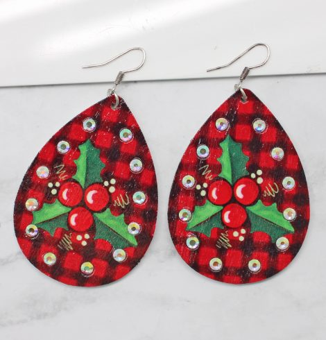 A photo of the Christmas Holly Earrings product