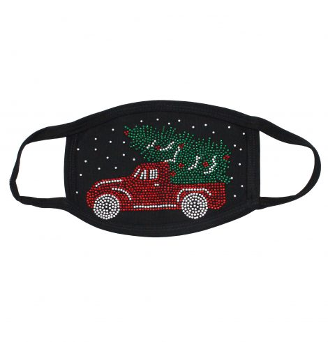 A photo of the Christmas Tree Truck Rhinestone Face Mask product