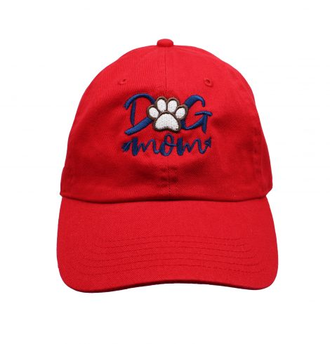 A photo of the Dog Mom Baseball Cap In Red product
