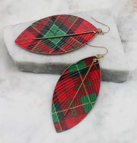 A photo of the Holiday Tartan Feather Earrings product