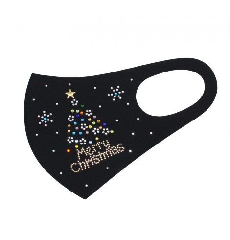 A photo of the Merry Christmas Rhinestone Face Mask product