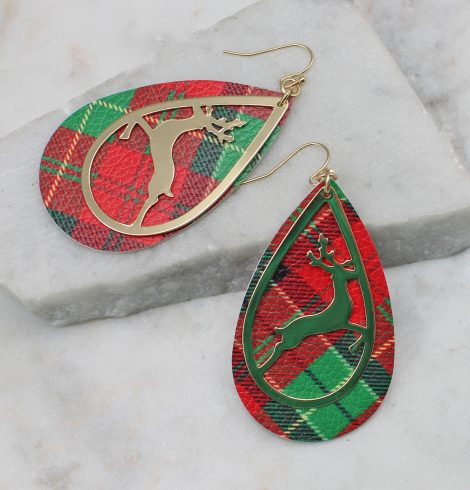 A photo of the Reindeer Tartan Earrings product
