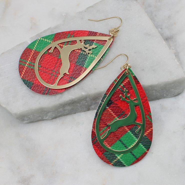 A photo of the Reindeer Tartan Earrings product
