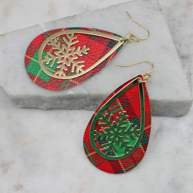 A photo of the Snowflake Tartan Earrings product