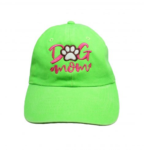A photo of the Dog Mom Baseball Cap In Lime Green product
