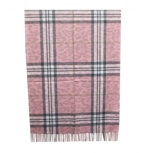 A photo of the Plaid Reversible Scarf In Pink product