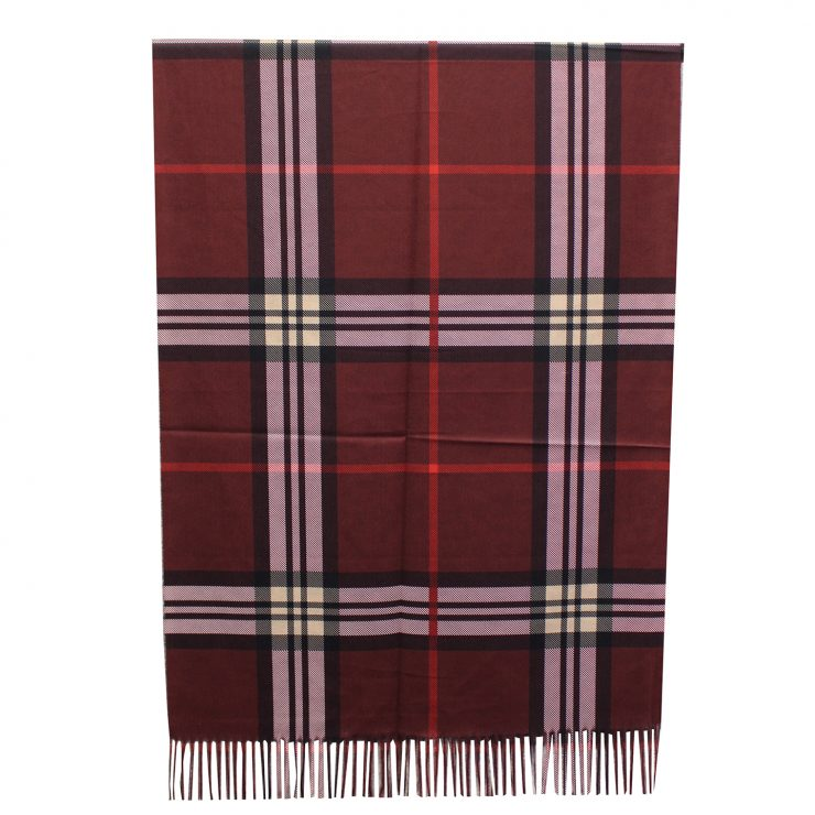 A photo of the Plaid Reversible Scarf In Burgundy product