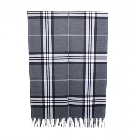 A photo of the Plaid Reversible Scarf In Grey product