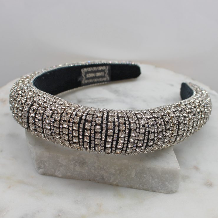A photo of the Rhinestone Headband In Silver product