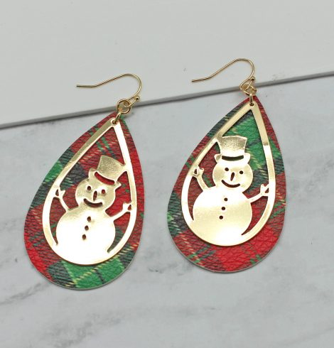 A photo of the Snowman Tartan Earrings product