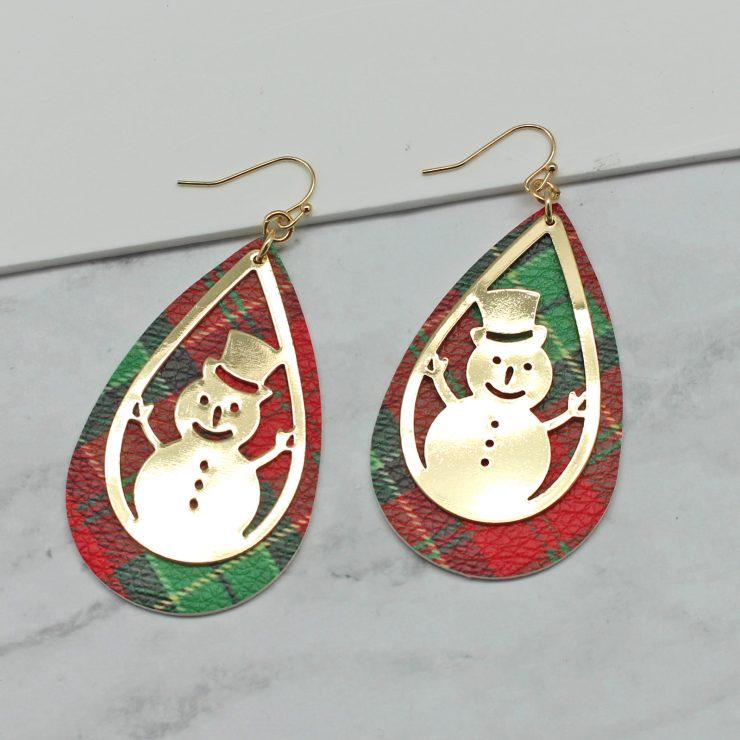A photo of the Snowman Tartan Earrings product