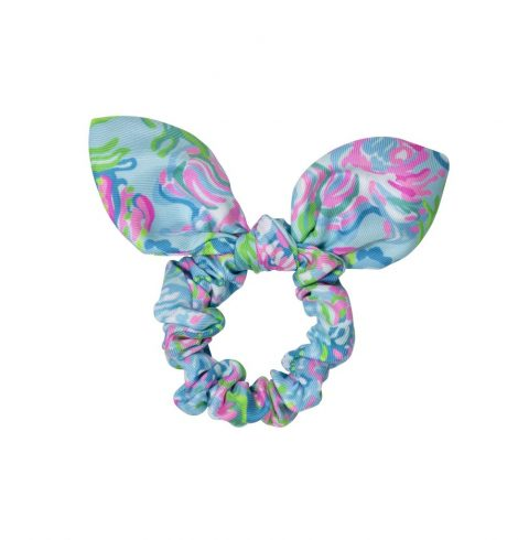 A photo of the Lilly Pulitzer Hair Scrunchie In Aqua La Vista product