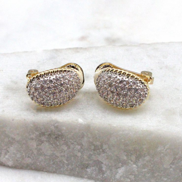 A photo of the Rhinestone Pave Clip On Earrings product