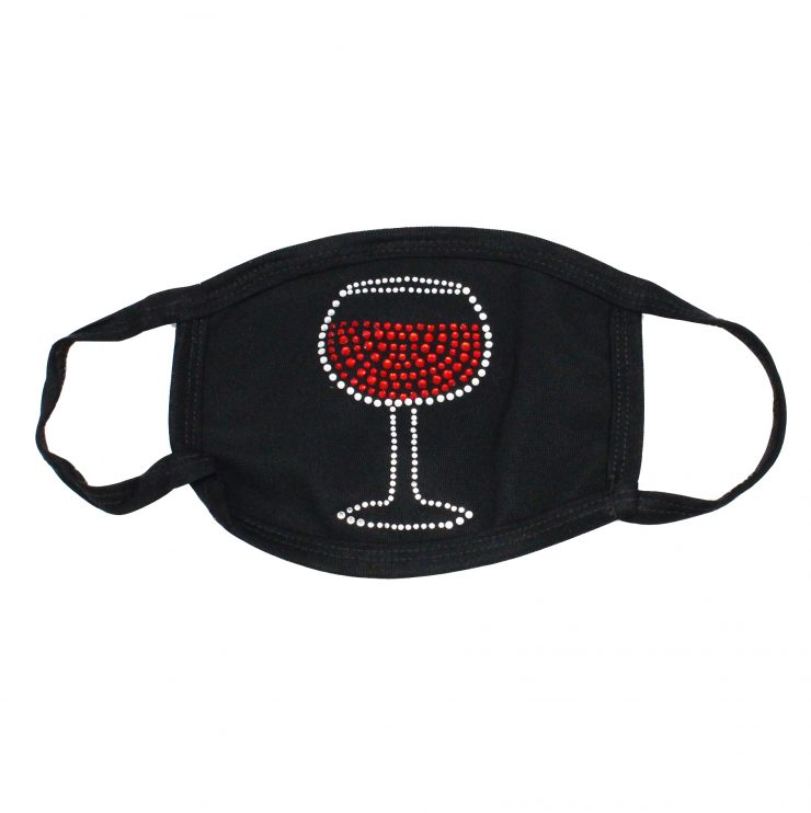A photo of the Rhinestone Wine Glass Face Mask product