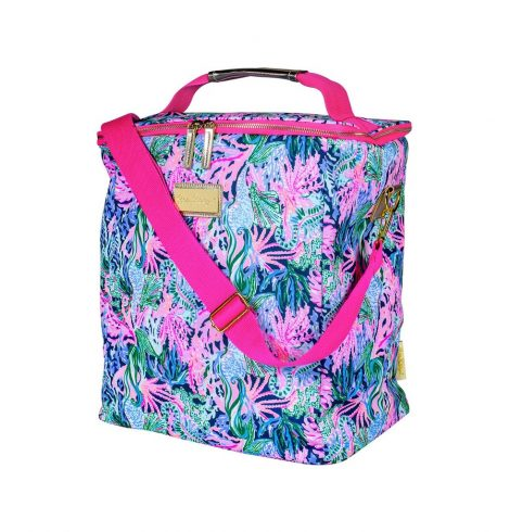 A photo of the Lilly Pulitzer Wine Carrier In Bringing Mermaid Back product