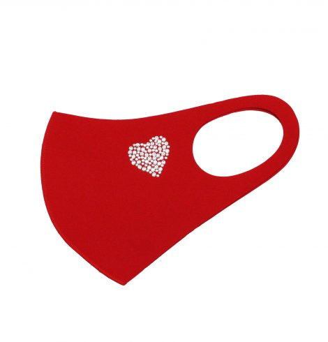 A photo of the Rhinestone Heart Face Mask In Red product