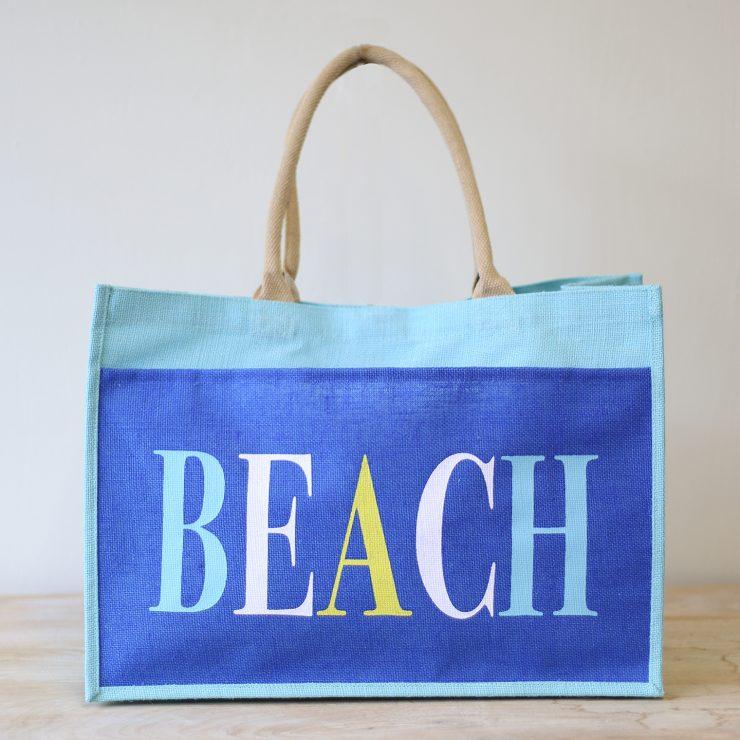 A photo of the Beach Jute Tote in Aruba Blue product