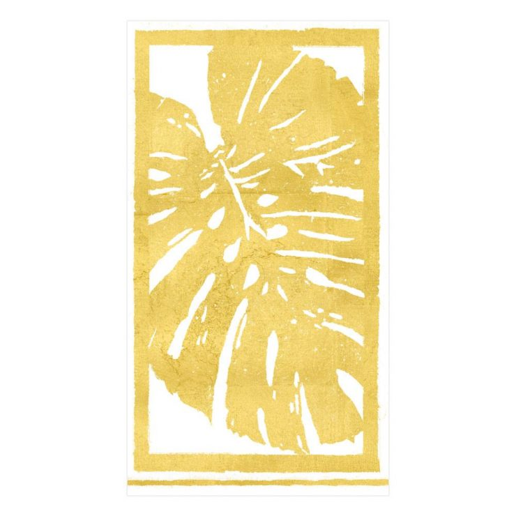A photo of the Palm Leaves Guest Napkins in Gold product