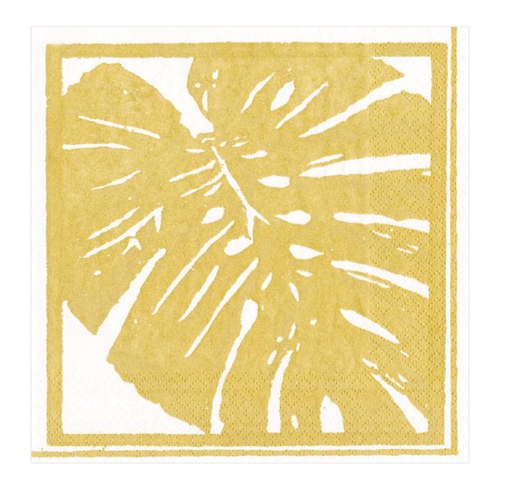 A photo of the Palm Leaves Cocktail Napkins in Gold product