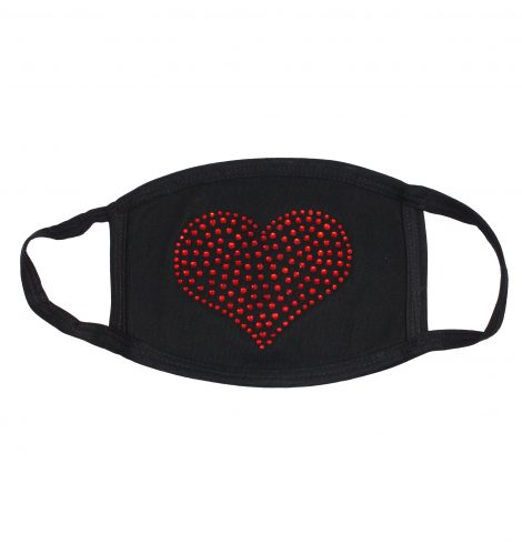 A photo of the Heart Rhinestone Face Mask product