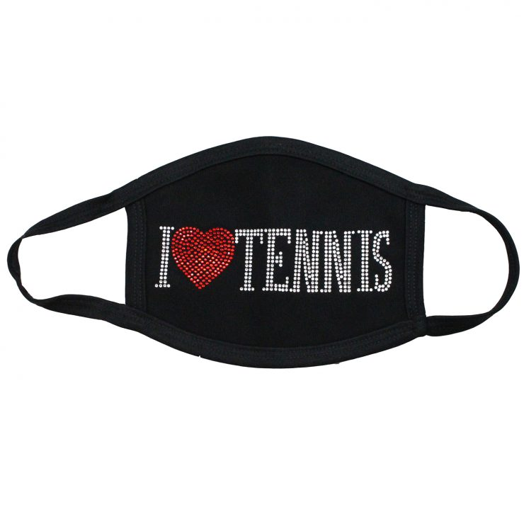 A photo of the I Love Tennis Rhinestone Face Mask product