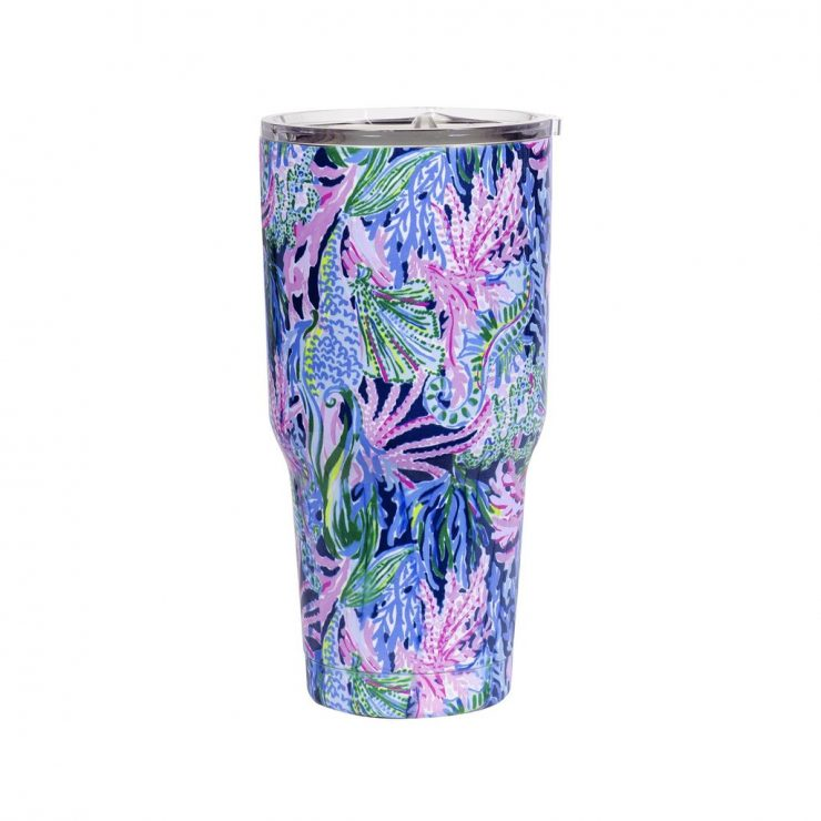 A photo of the Lilly Pulitzer Stainless Steel Tumbler In Bringing Mermaid Back product