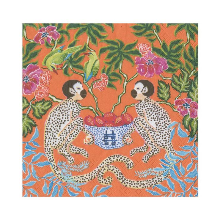 A photo of the Monkeys Paper Cocktail Napkins in Orange product