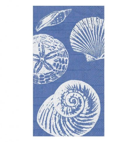 A photo of the Shells Guest Towel Napkins In Ocean Blue product