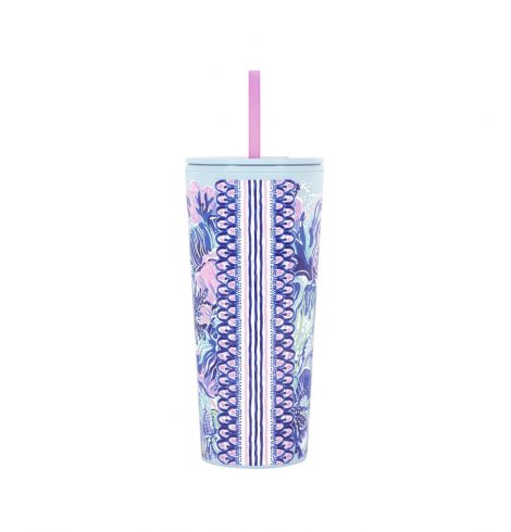 A photo of the Lilly Pulitzer Tumbler With Straw In Shade Seekers product