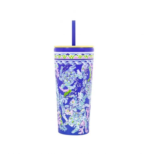 A photo of the Lilly Pulitzer Tumbler With Straw In Turtle Villa product
