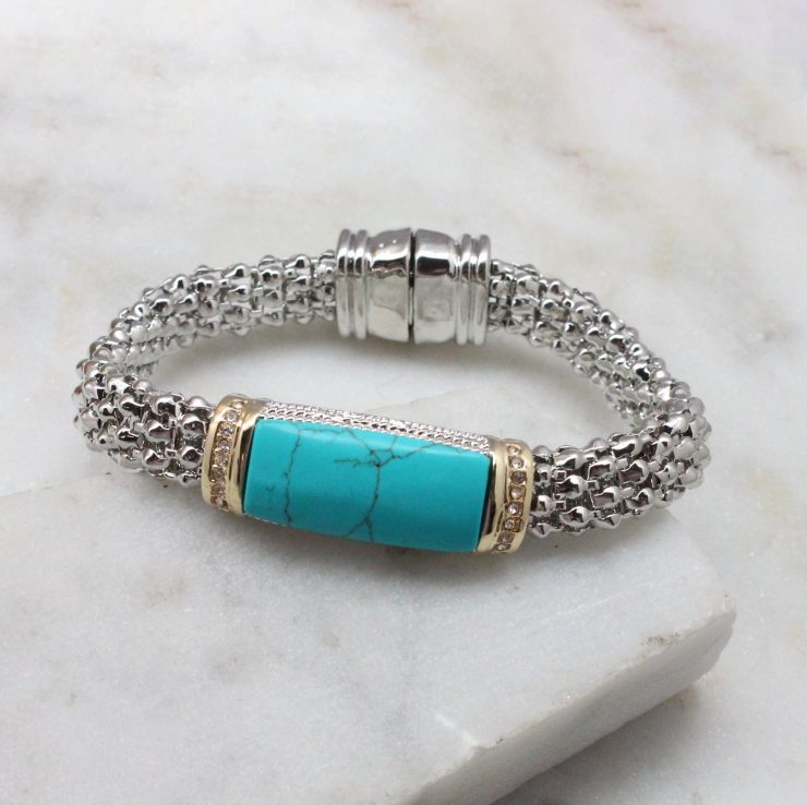 A photo of the Turquoise Bar Bracelet product