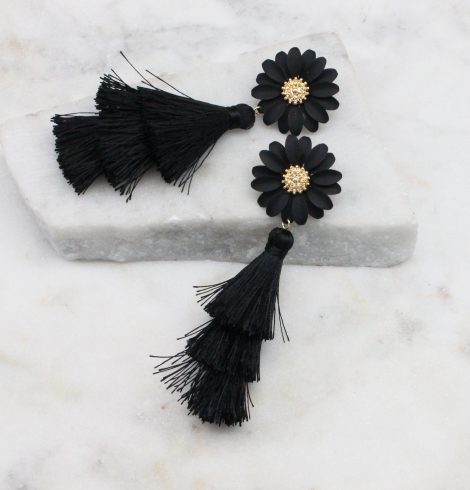 A photo of the Daisy Tassel Earrings In Black product