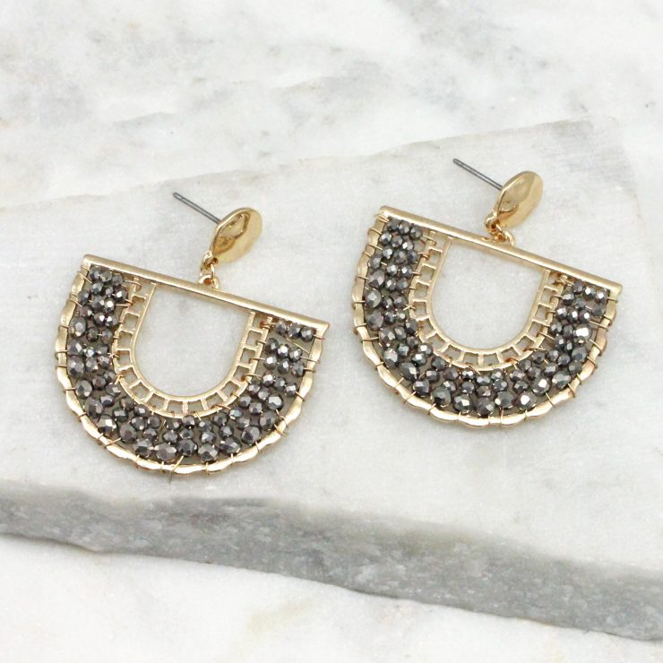 A photo of the Jasmine Earrings In Gunmetal product