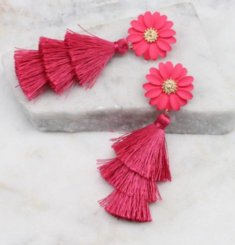 A photo of the Daisy Tassel Earrings In Pink product