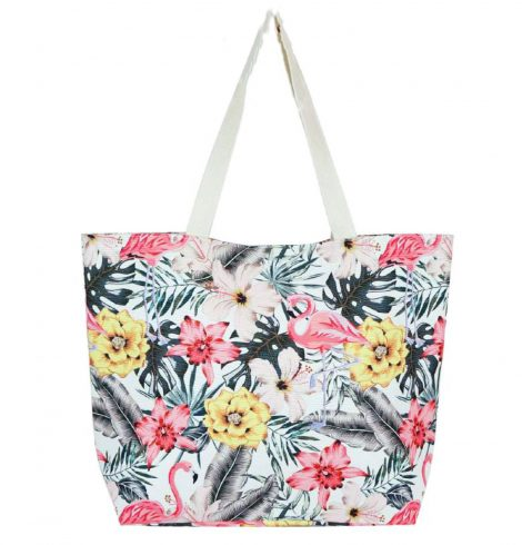 A photo of the Tropical Hibiscus Flamingo Tote product