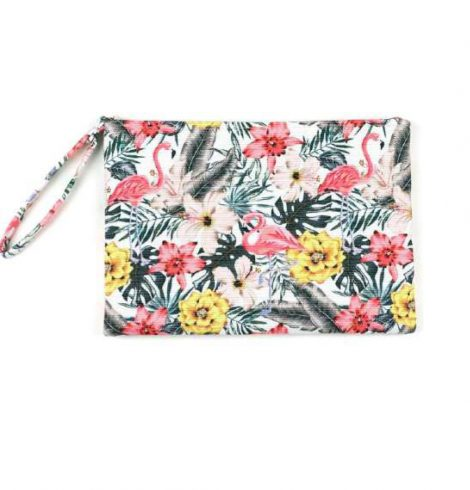 A photo of the Tropical Hibiscus Flamingo Wristlet product
