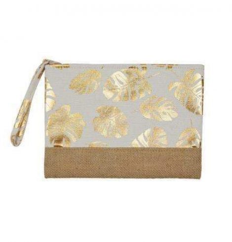 A photo of the Tropical Leaf Wristlet In White product