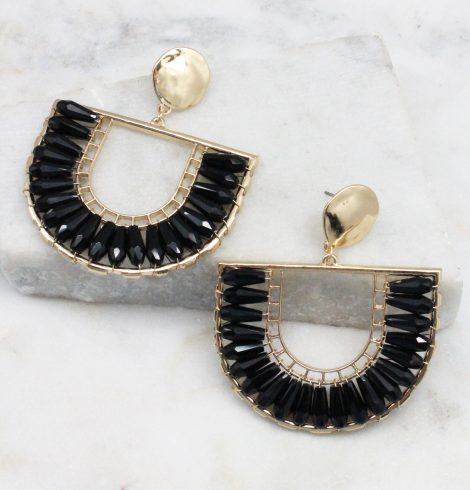 A photo of the The Angela Earrings In Black product