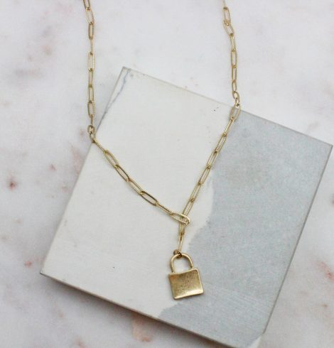 A photo of the Lock Paperclip Chain Necklace In Gold product
