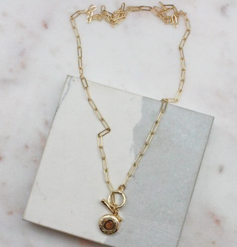 A photo of the Locket Paperclip Necklace In Gold product