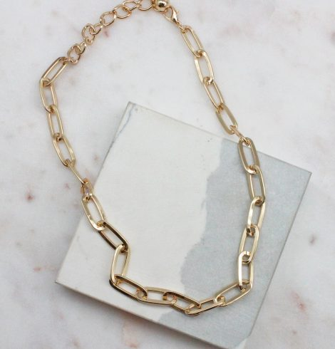 A photo of the Paperclip Necklace In Gold product