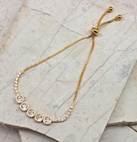 A photo of the Beautiful Treasures Adjustable Bracelet In Gold product