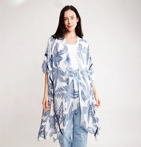 A photo of the Blue Leaves Kimono product
